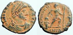 Ancient Coins - Valens AE3 Emperor dragging captive, holds, larbarum  Antioch