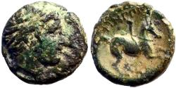 Ancient Coins - Philip II AE17 Hd of Apollo / young male horseback
