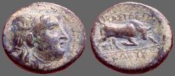 Ancient Coins - Seleukid. Seleukos I Nikator, AE15 Winged Medusa / Bull butting