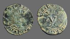 Ancient Coins - Fernando V & Isabella, 18mm billon Blanca.  1474-1504 AD.