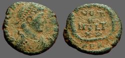 Ancient Coins - Theodosius I AE4 Vows in wreath.  VOTOT/X/MVLT/XX.  Alexandria