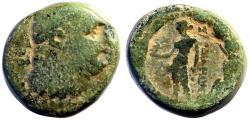Ancient Coins - Sardes, Lydia AE16 Herakles / Apollo w. bird & laurel branch.