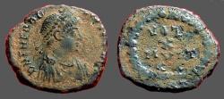 Ancient Coins - Theodosius I AE4 Vows in wreath. VOT/X/MVLT/XX. Antioch, Turkey