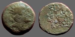 Ancient Coins - Alexander II Zebinas AE18 Zeus enthroned holds Nikw & sceptre