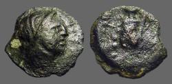 Ancient Coins - Spain, Corduba AE18Semis. Bust of Venus / Winged Eros w. torch & cornucopia