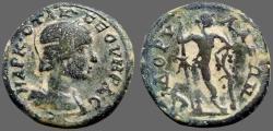 Ancient Coins - Otacilia Severa AE27 Dorylaeum, Phrygia.  Dionysos w. panther & grapevine