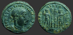 Ancient Coins - Constantine II AE3 2 Soldiers & 2 Standards.  Thess.