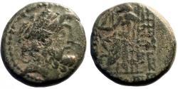 Ancient Coins - Seleicis & Pieria, Antiocheia AE18 Hd. of Zeus / Zeus enthroned, holds Nike