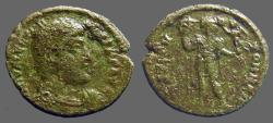 Ancient Coins - Valentinian I AE3 / Valentinian standing w. labarum, holds Victory