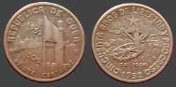 World Coins - Cuba (Republic) AR23 Centavos.  1952.  Fortress / Tree w. wheel