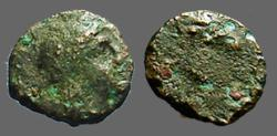 Ancient Coins - Aiolis, Aigai, AE9 Laureate head of Apollo right / Head of goat right.