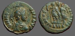 Ancient Coins - Honorius AE3 (16mm) Victory holds wreath over Honorius.  Alexandria, Egypt