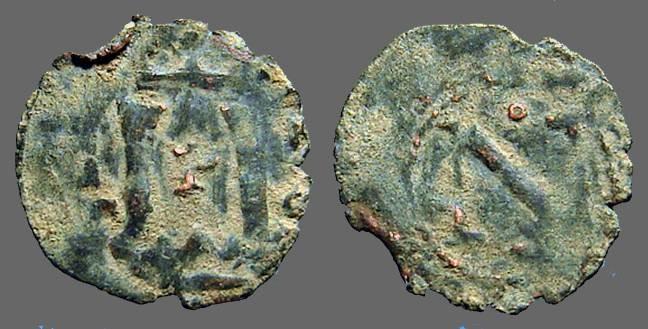 World Coins - Carlos I AE Dinero of Navarra. Columns / Cross w. pellets