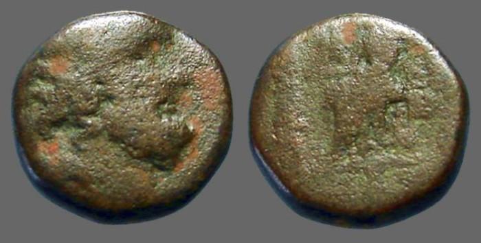 Ancient Coins - Seleicis & Pieria, Antiocheia AE18 Hd. of Zeus / Zeus enthroned, holds Nike & Sceptre