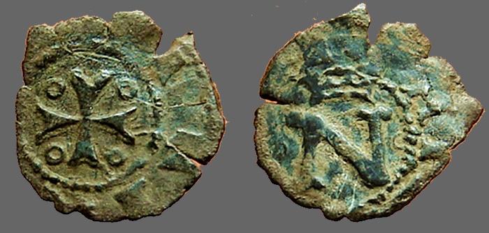 World Coins - Fernando II of Navarra billon dinero. crowned N / Cross w. pelletes in quartiles