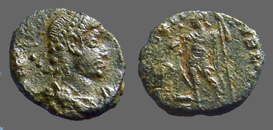 Ancient Coins - Constantius AE3 Spes Reipublicae. Roma stg. left w. globe & spear.   Antioch, Syria  VF