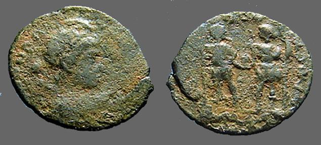 Ancient Coins - Honorius AE3/4 Honorius & Arcadius hold globe, Antioch, Turkey  393-423 AD.