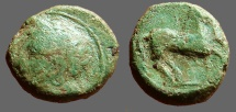 Ancient Coins - Zeugitania, Carthage AE16 Wreathed hd. of Tanit / Horse adv. rt.