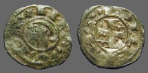 Ancient Coins - Alfonso I 17mm billon denaro. bust left / Cross w. stars.