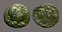 Ancient Coins - Honorius AE3 (14mm) 3 Emperors. Antioch, Turkey