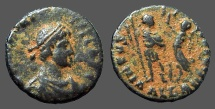 Ancient Coins - Arcadius AE3 (17mm) Victory holds wreath over Arcadius. Alexandria, Egypt