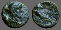Ancient Coins - Kings of Thrace, Odrysian. AE13  Bearded Bust rt / /Eagle on thunderbolt