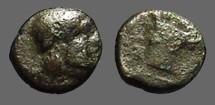 Ancient Coins - Lamponeia, Troas,  AE11 Bearded head of Dionysos rt, w. wreath of ivy. LA-M; Bucranium