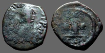 Justin I AE19 Decanummium.  I w. cross and stars.  Constantinople