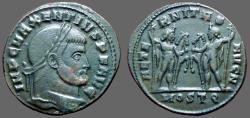 Ancient Coins - Maxentius AE Follis Dioscuri w. horses.  Ostia
