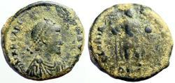 Ancient Coins - Arcadius AE21 Follis. Arcadius stg. w. labarum & globe.
