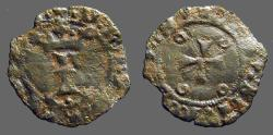 World Coins - Fernando II of Navarra billon dinero. Crowned 'F' / Short Cross