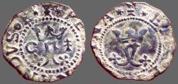 World Coins - Spain. Fernando V & Isabella, 17mm billon Blanca.