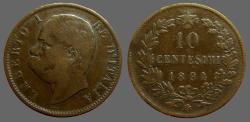 World Coins - Italy, Umberto I AE30 Hd left / 10 Centesimi in wreath.  1894