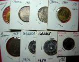 World Coins - 8 Coins of Modern Greece.