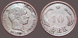 World Coins - Denmark. 1904. 10 Ore Christian IX / Dolphin & Grain Ear