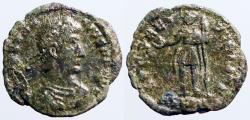 Ancient Coins - Constantius II AE3 Emperor stg w. inverted spear