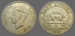 World Coins - East Africa 27mm Bust of George VI / Lion adv rt.  1948