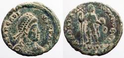 Ancient Coins - Arcadius AE22 Follis. Arcadius stg. w. labarum & globe.