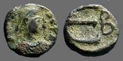 Ancient Coins - Justin I AE12 Pentanummium E w. B officiana