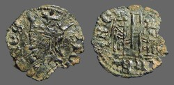 Ancient Coins - Alfonso XI 17mm Cornado Crowned bust of Alfonso / 3 towered Castle
