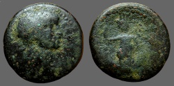 Ancient Coins - Domitian AE24, Ascalon, Tyche-Astarte on galley w. aphlaston, dove.