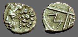 Ancient Coins - Massalia, Gaul AR Obol. Hd of Apollo / 4 spoked wheel w. M/A in quadrants