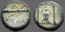 Ancient Coins - Perge, Pamphylia AE17 Cult statue of Artemis in temple / bow & quiver