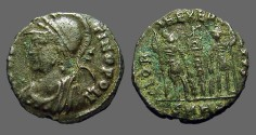 Ancient Coins - Constantinopolis AE3 commemerative.  Roma / 2 soldiers, 1 standard