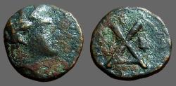Ancient Coins - Thessaly, Peumata. AE13 Nymph / Monogram