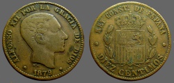 World Coins - Spain.  Alfonso XII AE30  1879.  Diez Centimos