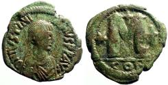 Ancient Coins - Justinian I AE31 Follis. 2 cross, 1 star. Constantinople