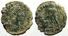 Ancient Coins - Gratian AE2 Centionalis.  Gratian raising kneeling female, Victory holds wreath over him