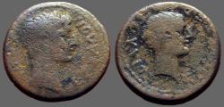 Ancient Coins - Macedon, Thessalonica. Augustus & Caius Caesar. AE19