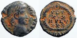 Ancient Coins - Constantius II AE4 Vows in wreath. VOT/XX/MVLT/XXX.  Antioch